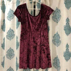 Forever 21 Burgundy Crushed Velvet Skater Dress
